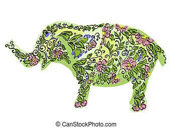 floral, desenhista, elefante