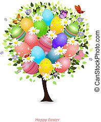 floral, desenho, árvore, seu, Páscoa