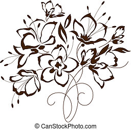 floral design, bouquet of stylized flowers, vector...