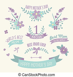 A set of floral design elements, wreaths and ribbons in pastel purple and green for Mother's Day.