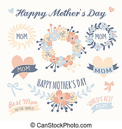 A set of floral design elements, wreaths, ribbons and hearts in pastel colors for Mother's Day.