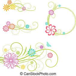 Floral design elements. - Floral frame and design elements....