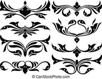 floral design elements vector set