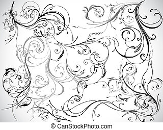 floral design elements, vector