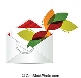 floral design envelope with papers