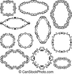 Floral design filigree frame elements. Vector black royal frames for menu or wedding invitations