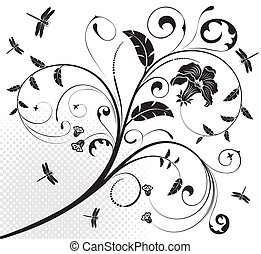 Floral ornament with dragonfly, element for design, vector illustration