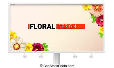 Floral design for billboard. Card with spring, summer flowers. Decorative summer, spring style with daisies, chrysanthemums. Composition with gerberas, chamomile. Vector template, 3D illustration