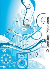 turntable - floral design, loudspeaker and turntable