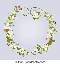 Floral Design Love Spring Beautiful Wedding Wreath Frame Vector Illustration