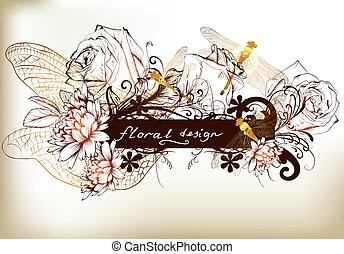 Floral design of background with ba