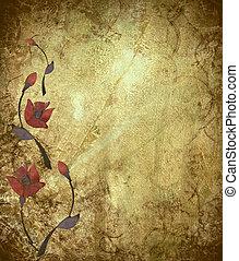 Floral Design on Antique Grunge Background - Floral Design...