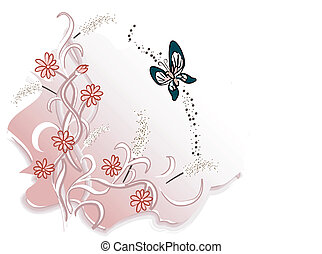 Floral Design: Pink flowers with butterfly illustration