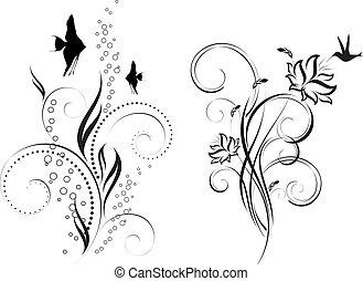 floral design. Underwater ornament. Floral pattern. Birds...