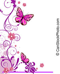 vector illustration of colorful floral elements, flowers and butterfly