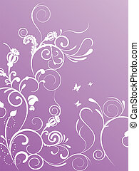 vector illustration of floral elements on a pink background