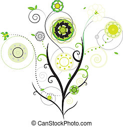 floral design vector - black and green isolated floral...