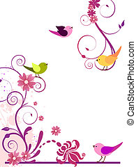 Floral design with birds - Vector illustration of colorful ...