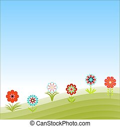 Floral design with garden flowers. Abstract vector illustration in a flat style. Summer background.
