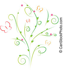 Floral design with leaves, flowers and butterflies