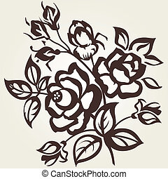 branch of roses - Floral designs. The branch of roses on a...