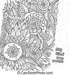 floral, dessiné, croquis, fond, main