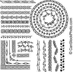 floral, dessiné, ensemble, frontière, main