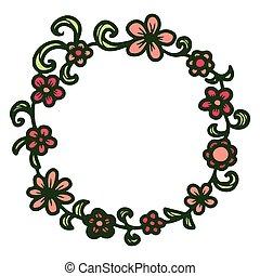 floral, dessiné, main, rond, frame.
