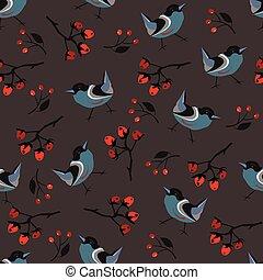 floral, dessiné, oiseaux, seamless, main