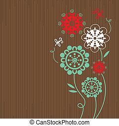 floral, dessin animé, fond, libellules