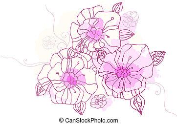 floral, dessin, fond, main