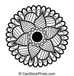 floral, dibujado, arte, mano