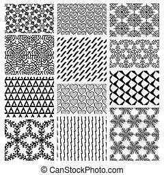 floral, dibujado, mano, seamless, patrones