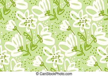 floral, dibujado, pattern., seamless, mano