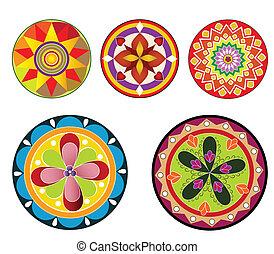 floral, diseño,  circular