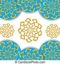 Floral Disk Fantasy - Floral patterns rotate in opposite...