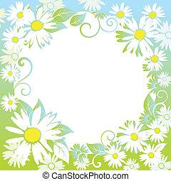 floral, divertido, primavera, border.