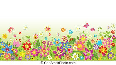floral, divertido, seamless, plano de fondo