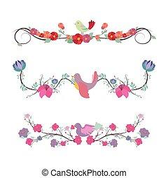 Floral divider set with birds