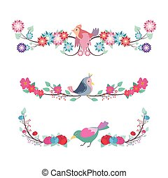 Floral divider set with colorful birds