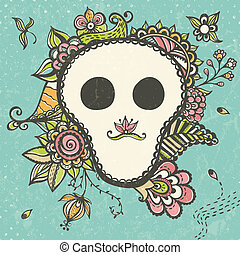 Floral doodle background with funny skull