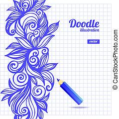 floral, doodle, desenho