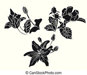 floral, doodle, jogo, elementos