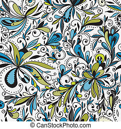 floral, doodle, seamless, fundo