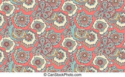 floral, doodle, seamless, piscodelica, padrão