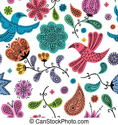 Floral Doodles Pattern - Seamless colorful floral doodles...