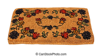 Floral doormat - Plain beige doormat isolated with clipping ...
