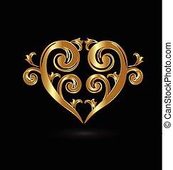 floral, doré, coeur, amour, logo