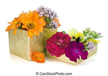 floral, doré, concept, cadeau