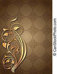 floral, doré, motifs, brun